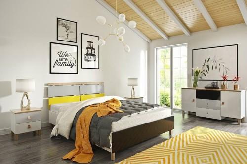 Drewniane łóżko Do Sypialni Ze Skrzynią Vaxholm Bc Różne Rozmiary Skandica