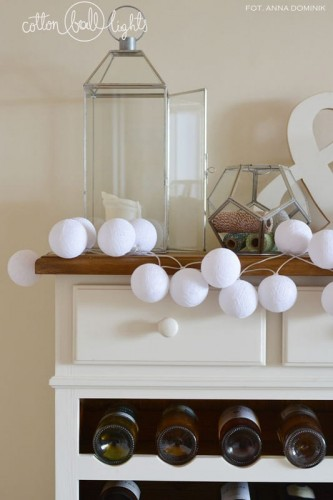 35 kul Pure White Cotton Ball Lights