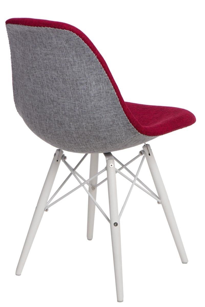 Krzesło P016W Duo białe drewniane nogi (czerwono szare) D2