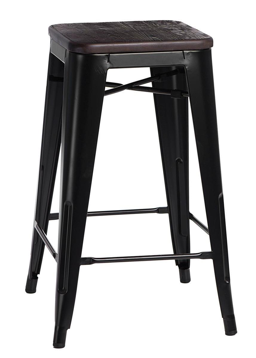 Stołek barowy Paris Wood 65 cm sosna szczotkowana (czarny) D2
