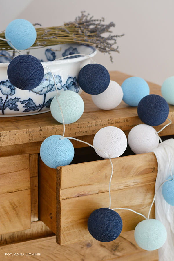 50 kul Big Blue Cotton Ball Lights