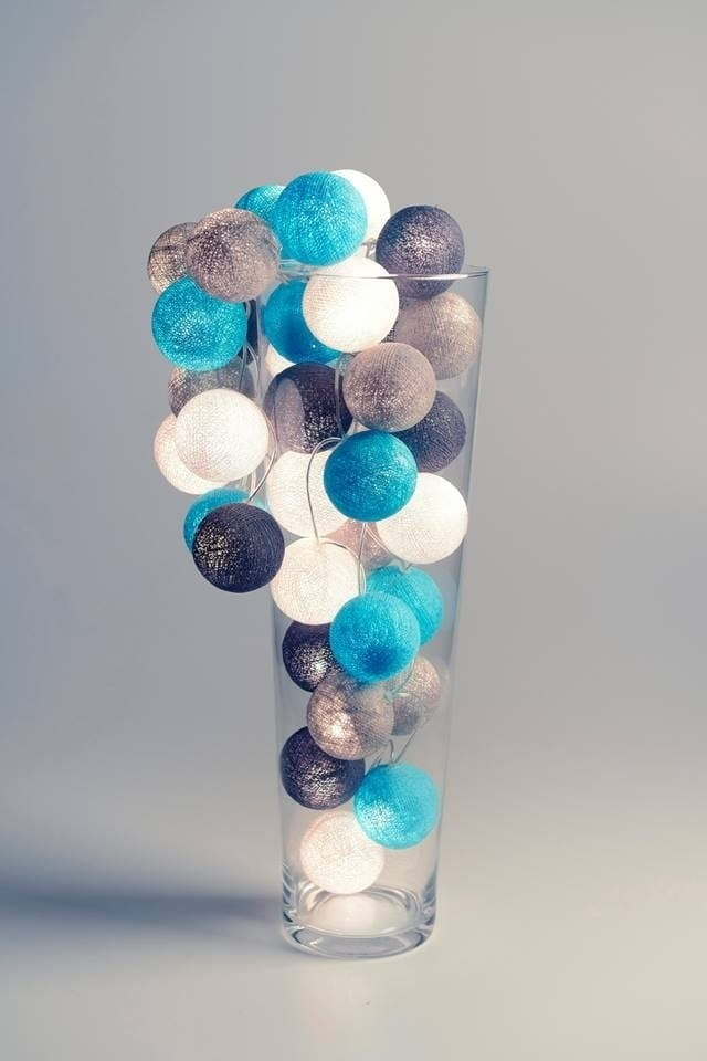 35 kul Grey Aqua Cotton Ball Lights