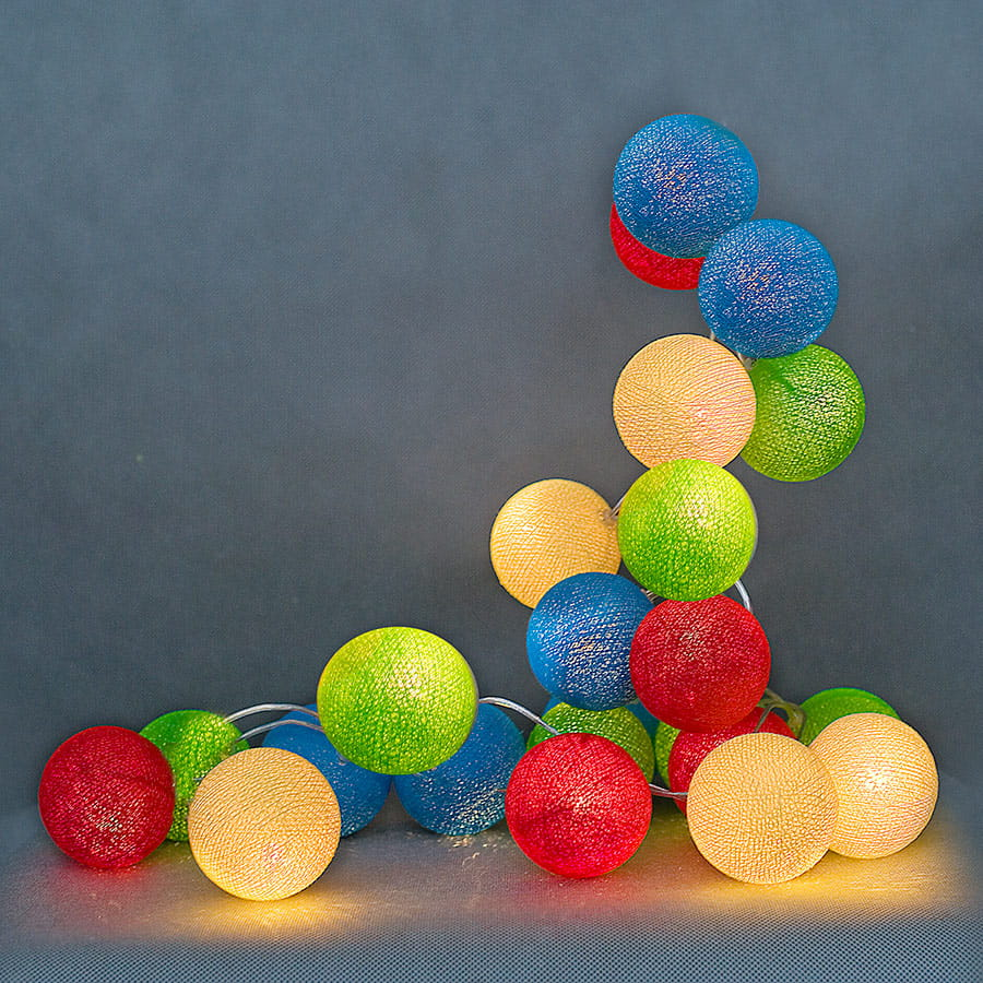 20 kul Colorful Cotton Ball Lights