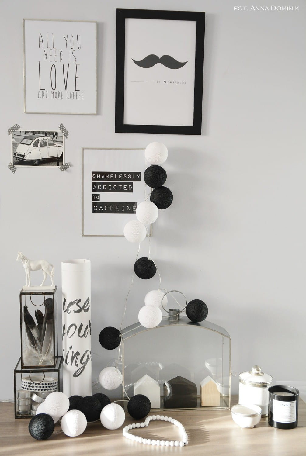20 kul Black & White Cotton Ball Lights