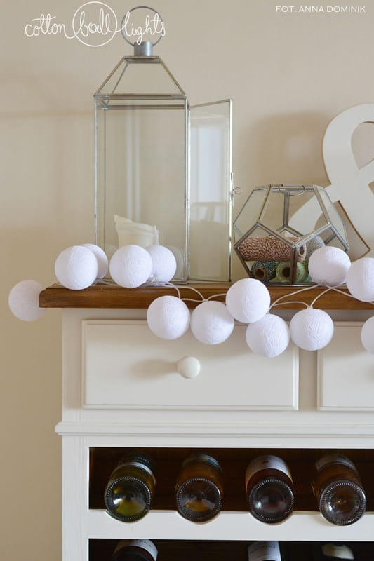 10 kul Pure White Cotton Ball Lights